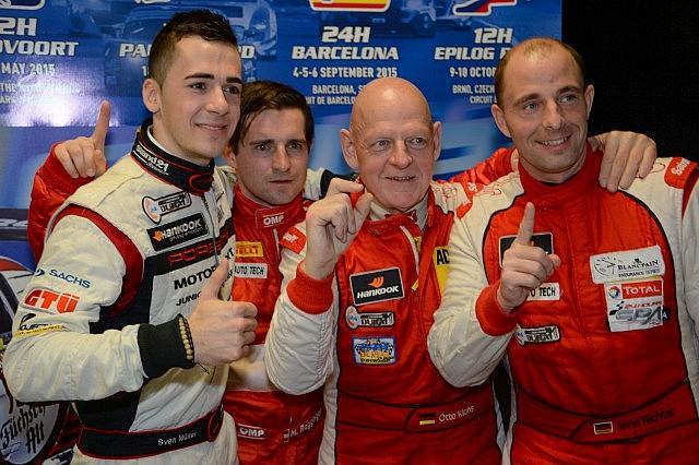 Fach Auto Tech Porsche team of Otto Klohs, Martin Ragginger, Jens Richter and Sven Muller celebrate after qualifying at Dubai Auodrome