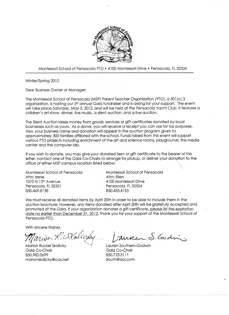 Montessori school of pensacola pto gala gala 2012 sponsorship descriptions business support letter thecheapjerseys Image collections