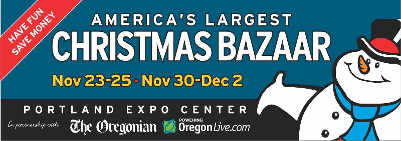 outdoor board with oregonian logo - Americas Largest Christmas Bazaar