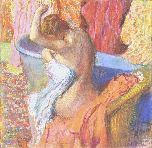 Bather drying herself after the bath by Degas c1895