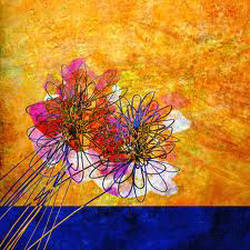 Orange and Blue Flowers by Anne Powell