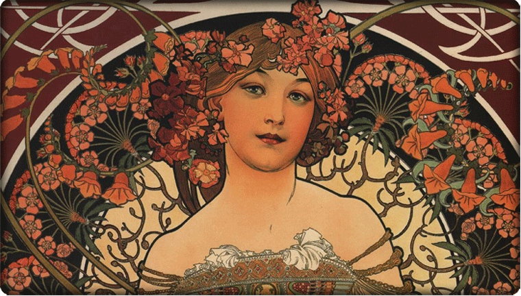 Detail of work by Alphonse Mucha