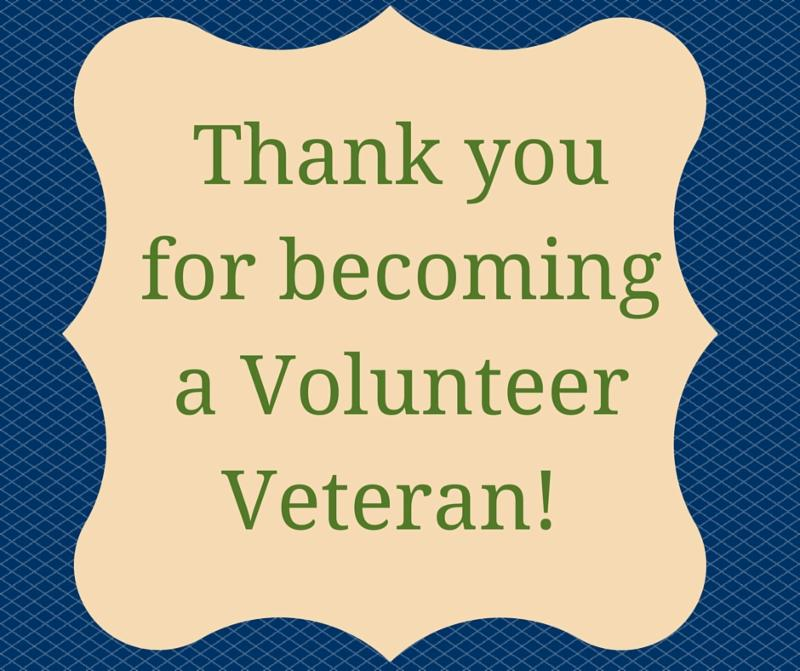Thank you for becoming a Volunteer Veteran!