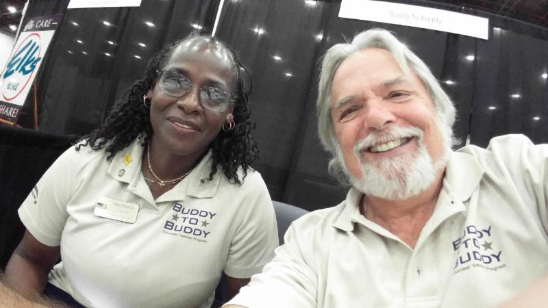 Dee Harris and Bob Baumstark at the Golden Age Games Health Expo in Detroit.