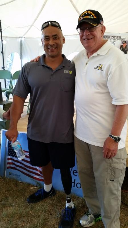 Bobby Body, Michigan Veteran of the Year, with Volunteer Veteran Harry McCown at the Operation LZ Michigan Welcome Home Vietnam Veterans event in Oscoda.