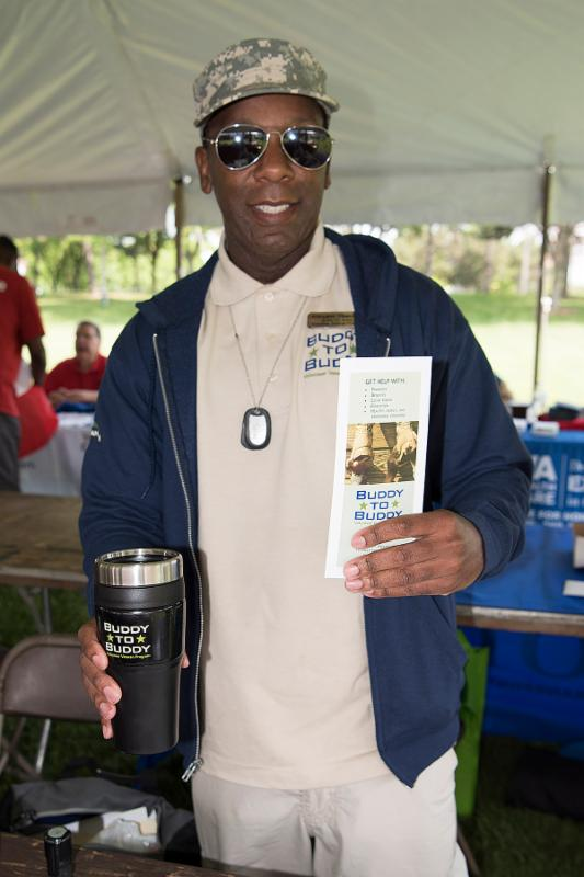 Adeyemi Obanjoko at a stand down event in Lansing.