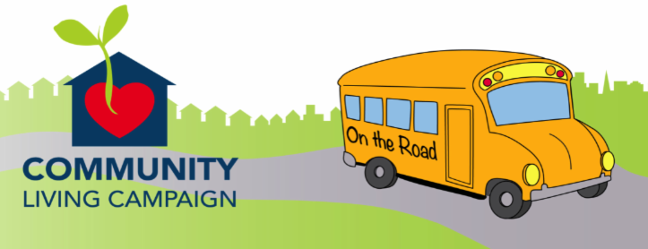 clc logo with bus that says on the road