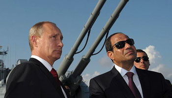 Russian President Vladimir Putin and Egyptian President Abd el-Fattah al-Sisi during al-Sisi's August 2014 visit to Russia.