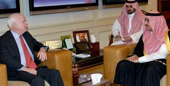 Prince Mohammad bin Nayef receives U.S. Senator John McCain in Riyadh, Saudi Arabia, in December 2013.