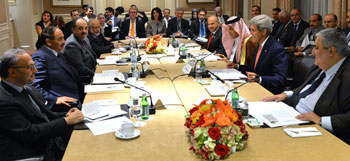 U.S. Secretary of State John Kerry meets with GCC Foreign Ministers in New York City in September 2014 for the GCC-U.S. Strategic Cooperation Forum's fourth ministerial meeting.