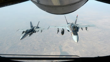 Aircraft taking part in strikes against Islamic State targets refuel over Iraq