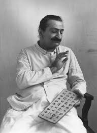 Avatar Meher Baba with the alphabet board