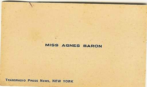 Agnes Baron Business Card