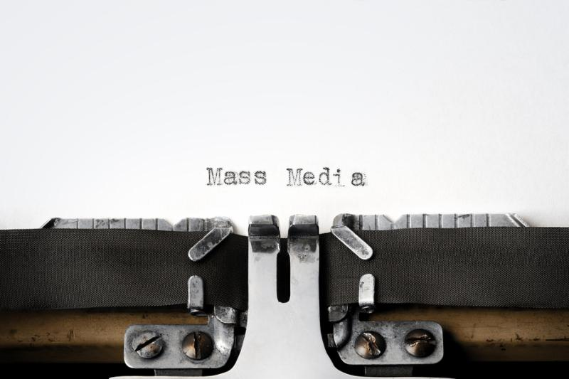 Typewriter series.  Mass Media  written on an old typewriter