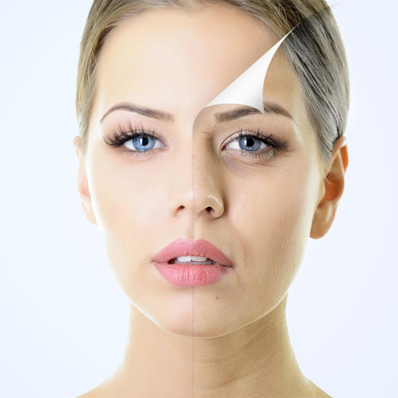 anti-aging concept, portrait of beautiful woman with problem and clean skin, aging and youth...