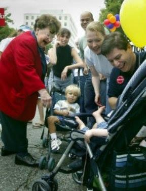 Sen. Barbara Mikulski campaigning in Bethesda, 2004