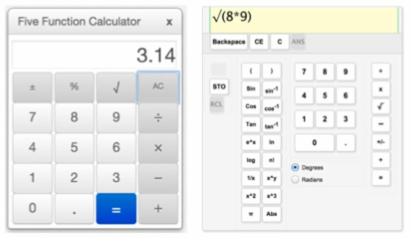 screen shots of a 5 function and a scientific calculator