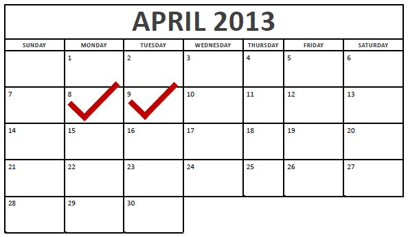 April Calendar with 8th & 9th Checked