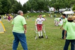Athlete throws football
