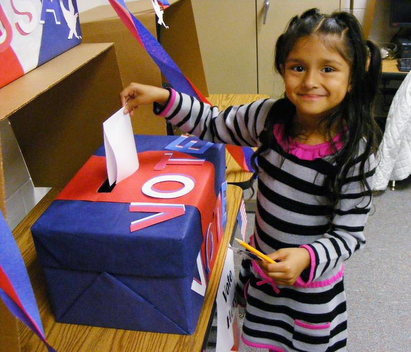 Norcross ES student casts her ballot