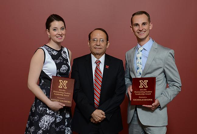 2016 Outstanding Student Leadership Award recipients Sydney Goldberg and Nicholas Knopik with Dr. Juan Franco.