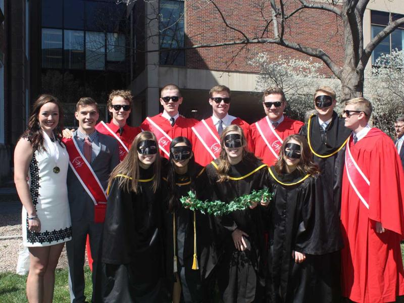 Members of Mortar Boards and Innocents Society at Ivy Day