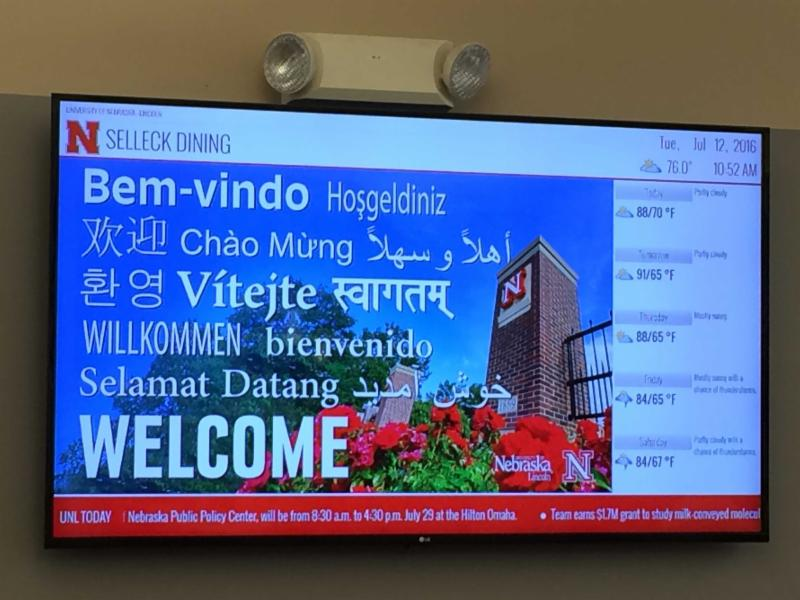 Digital sign in Selleck Dining Hall