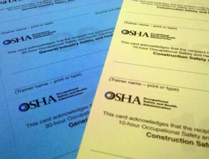 OSHA Outreach Cards