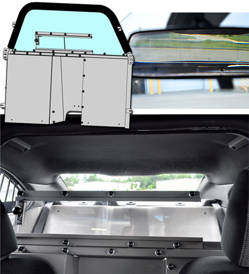 Rear View Mirror View and Rear Seat View of the Jotto Desk HS/HV Space Creator Partition