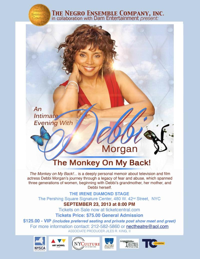 The Monkey on My Back! (An Intimate Evening with Debbi Morgan) at Pershing Square Signature Center September 23rd