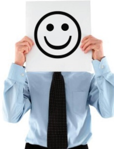 Happy business customer smiley face