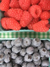 Closeup of Raspberries and Blueberries